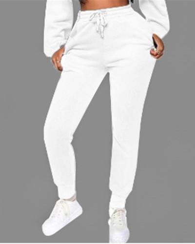 White Fashion solid color plus fleece trousers