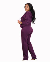 Purple Pocket trousers casual two-piece suit