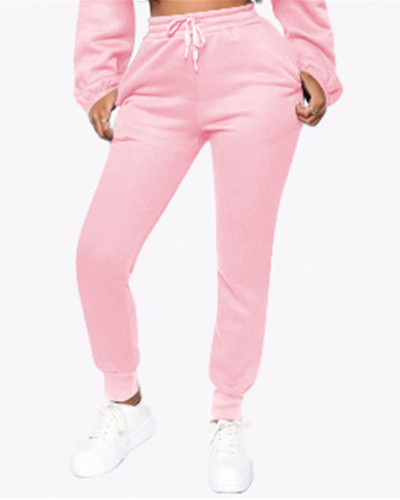 Pink Fashion solid color plus fleece trousers