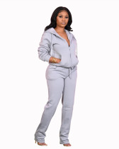 Gray Pocket trousers casual two-piece suit