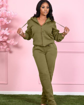 Green Pocket trousers casual two-piece suit