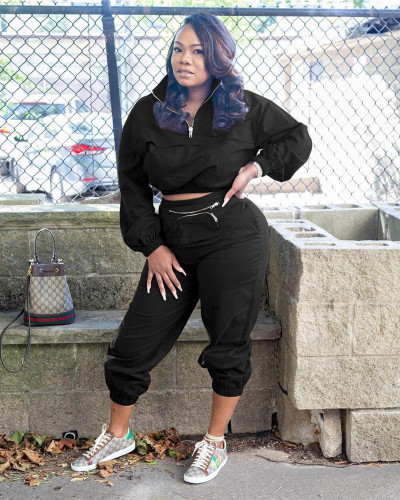 Black New style personalized satchel zipper suit two-piece
