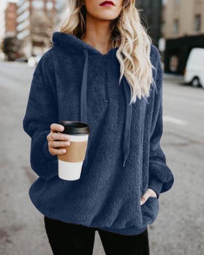 Dark buleLong-sleeved hooded solid color women's sweater sweater coat