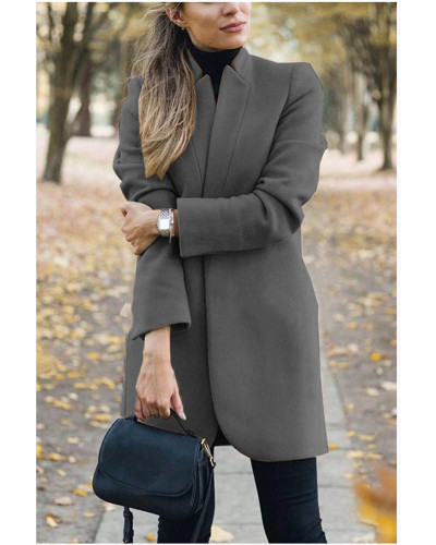 Dark gray Autumn and winter new fashion solid color stand collar woolen coat