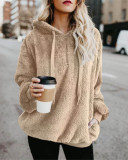 Apricot Long-sleeved hooded solid color women's sweater sweater coat