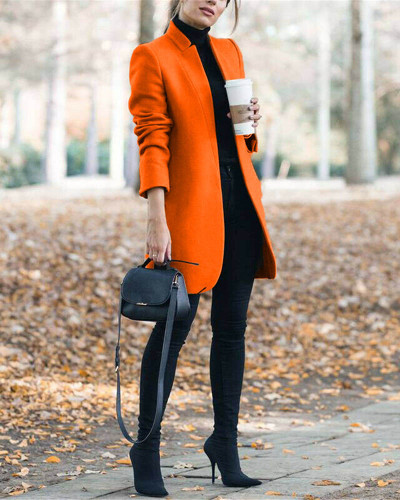Orange Autumn and winter new fashion solid color stand collar woolen coat