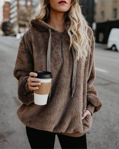 Kahaki Long-sleeved hooded solid color women's sweater sweater coat