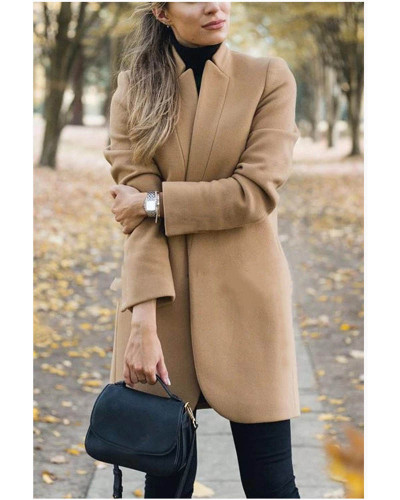 Khaki Autumn and winter new fashion solid color stand collar woolen coat