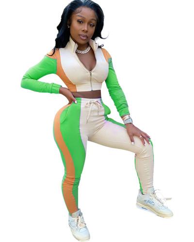 Green Stitching zipper sports suit