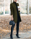 Army green Autumn and winter new fashion solid color stand collar woolen coat