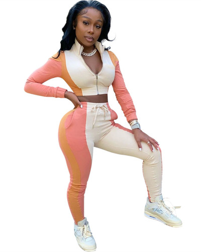 Pink Stitching zipper sports suit