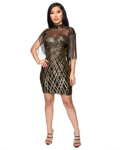Gold Winter sequin tassel sexy dress