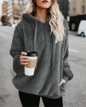Dark gray Long-sleeved hooded solid color women's sweater sweater coat