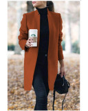 Autumn and winter new fashion solid color stand collar woolen coat