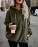 Army green Long-sleeved hooded solid color women's sweater sweater coat