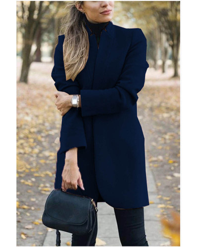 Dark bule Autumn and winter new fashion solid color stand collar woolen coat