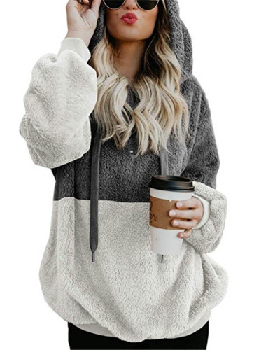 Long-sleeved hooded solid color women's sweater sweater coat