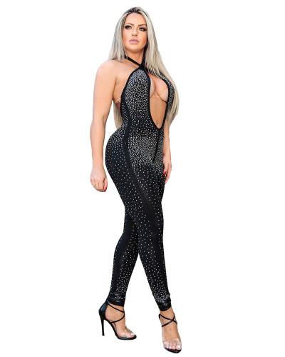 Black Sexy Halter Halter Halter Jumpsuit