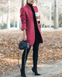Rose red Autumn and winter new fashion solid color stand collar woolen coat