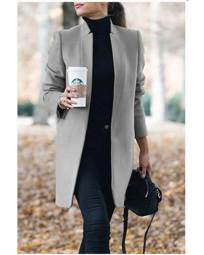 Gray Autumn and winter new fashion solid color stand collar woolen coat
