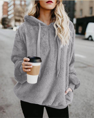 Light gray Long-sleeved hooded solid color women's sweater sweater coat