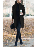 Black Autumn and winter new fashion solid color stand collar woolen coat