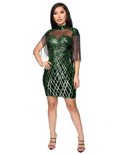 Green Winter sequin tassel sexy dress