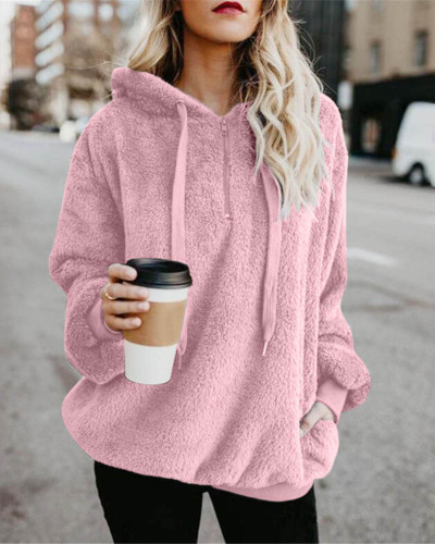 Pink Long-sleeved hooded solid color women's sweater sweater coat