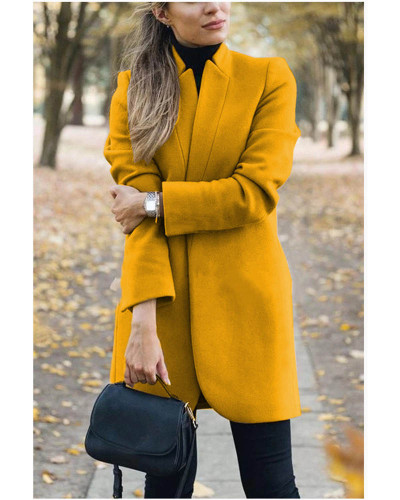 Yellow Autumn and winter new fashion solid color stand collar woolen coat