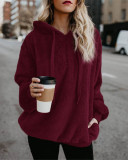 Claret Long-sleeved hooded solid color women's sweater sweater coat