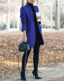 Bule Autumn and winter new fashion solid color stand collar woolen coat