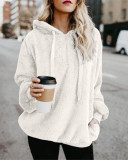 White Long-sleeved hooded solid color women's sweater sweater coat