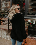Black Long-sleeved hooded solid color women's sweater sweater coat
