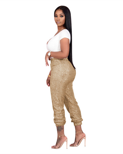 Gold Sequined ladies casual bottoming pants
