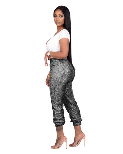 Gray Sequined ladies casual bottoming pants