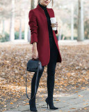 Claret Autumn and winter new fashion solid color stand collar woolen coat