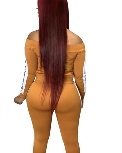 Brown Spliced trousers split leisure sports suit