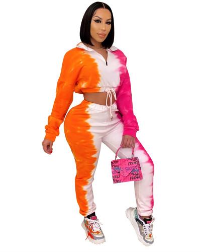 Orange Tie-dye printed sports casual suit
