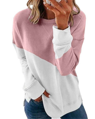 Pink Long sleeve stitching round neck contrast top T-shirt