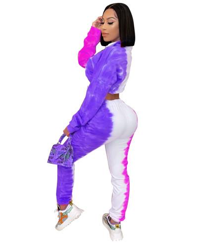 Purple Tie-dye printed sports casual suit