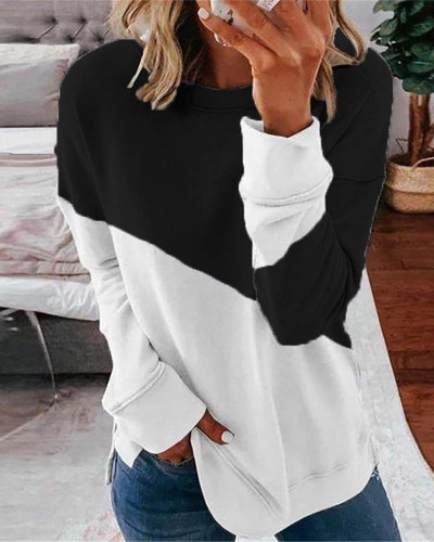 Black Long sleeve stitching round neck contrast top T-shirt