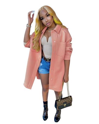 Pink No cashmere woolen coat