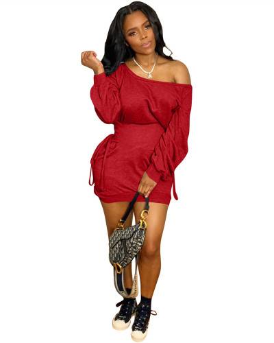 Red Belted waist one-shoulder dress