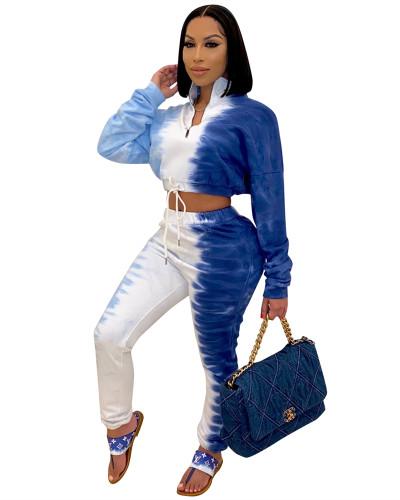 Dark Blue Tie-dye printed sports casual suit
