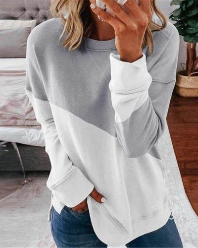 Gray Long sleeve stitching round neck contrast top T-shirt