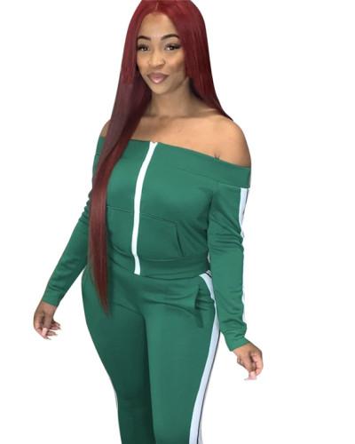Green Spliced trousers split leisure sports suit