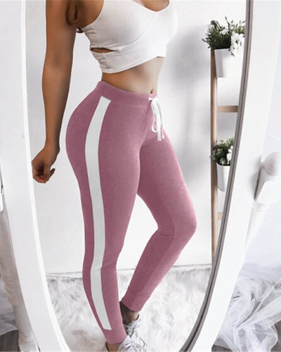 Pink Sexy and comfortable feature stitching track pants