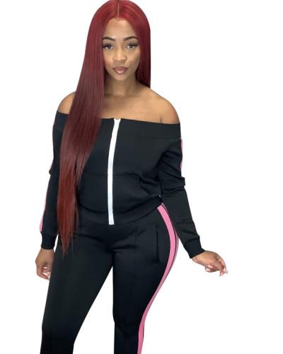 Black Spliced trousers split leisure sports suit