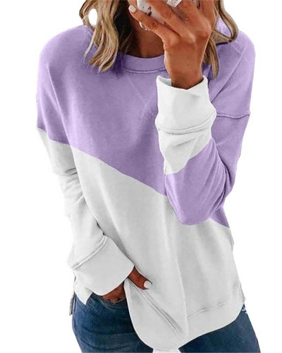Violet Long sleeve stitching round neck contrast top T-shirt