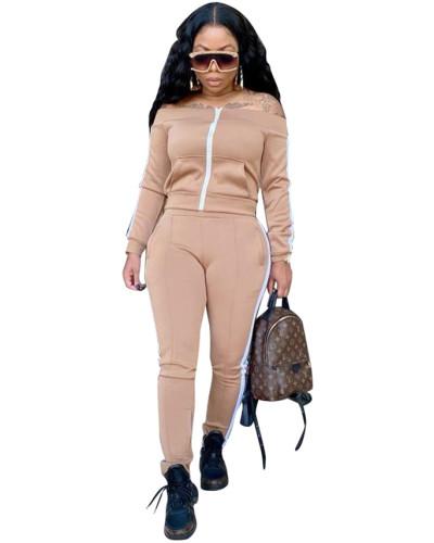 Apricot Spliced trousers split leisure sports suit